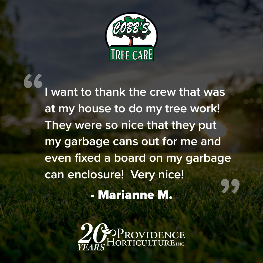 """""""I want to thank the crew that was at my house to do my tree work! They were so nice that they put my garbage cans out for me and even fixed a board on my garbage can enclosure! Very nice!"""" Marianne M."""